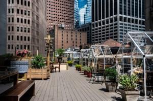 Restaurante en azotea de Manhattan abrió con invernaderos privados para cenas a distancia