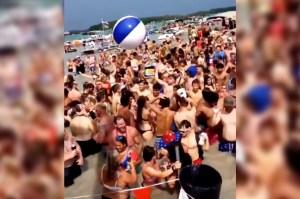 Multitudes sin tapabocas abarrotaron el lago Diamond de Michigan